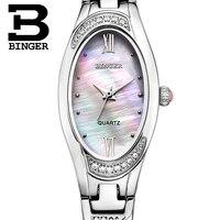 Switzerland Binger Watches Women Fashion Luxury Watch Quartz Sapphire Full Stainless Steel Wristwatches B 3022L