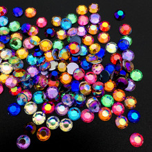 AB Colorful 5MM Nail Art Rhinestones  Acrylic Round Glitter DIY Nail Decorations hot sale 2000pcs 1 5mm nail art decorations 3d clear transparent round glitter diy nails sticker rhinestones beauty tools me88