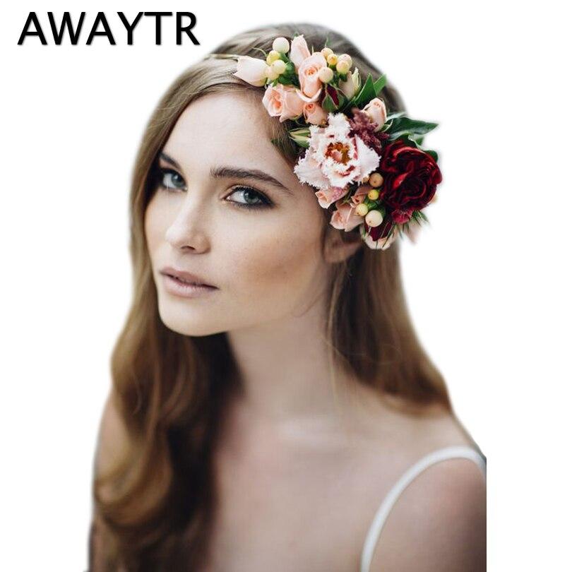 AWAYTR Big Flower Crown Wedding Bride Floral Crown Women Fabric Lily Flower Headband Garland Hair Accessories Girls Hairbands