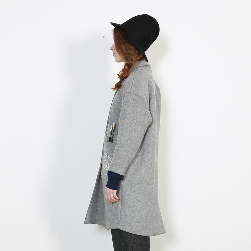 Dames Bande Gris Broderie Femme Nouveau Laine Manteau Mélanges Dessinée Femmes 2017 Pour De Mode Long Coréenne Printemps RTOBwUq