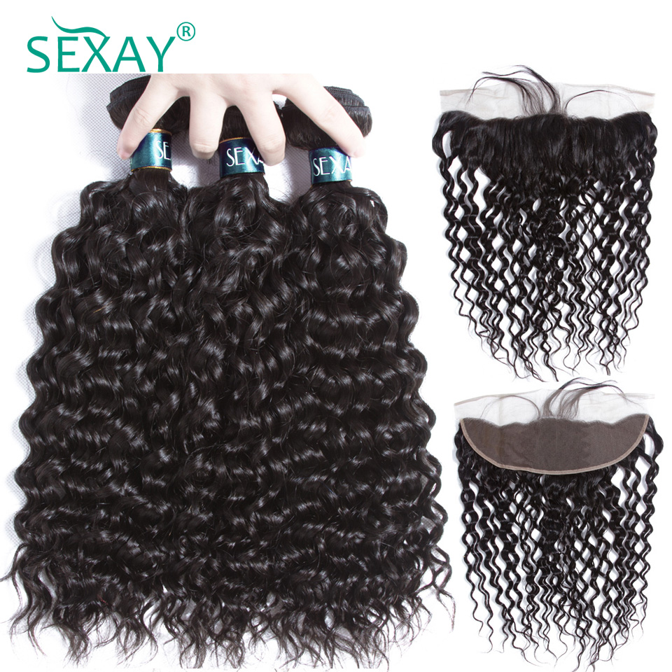 Pre Plucked Lace Frontal Closure With Bundles Sexay Brazilian Water Wave Remy Human Hair Weave 3Pcs