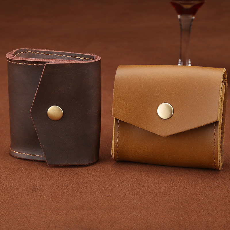 Genuine Leather Coin Purse Small Women Men Multifunction Coin Wallet Small Hasp Coin Box Earphone Line Bags