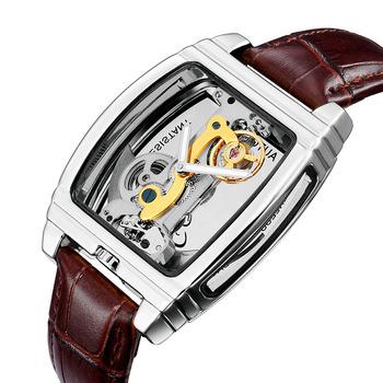 Automatyczny zegarek mężczyźni sport zegarki Top Tourbillon mechaniczne zegarki na rękę moda własna Winding biznesu mężczyźni mechaniczne oglądać AAA tanie i dobre opinie 22mm Odporny na wstrząsy Odporne na wodę Strumień światła Golf 22cm Skóra Okrągły 3Bar Papier Hardlex SHENHUA Automatyczne self-wiatr