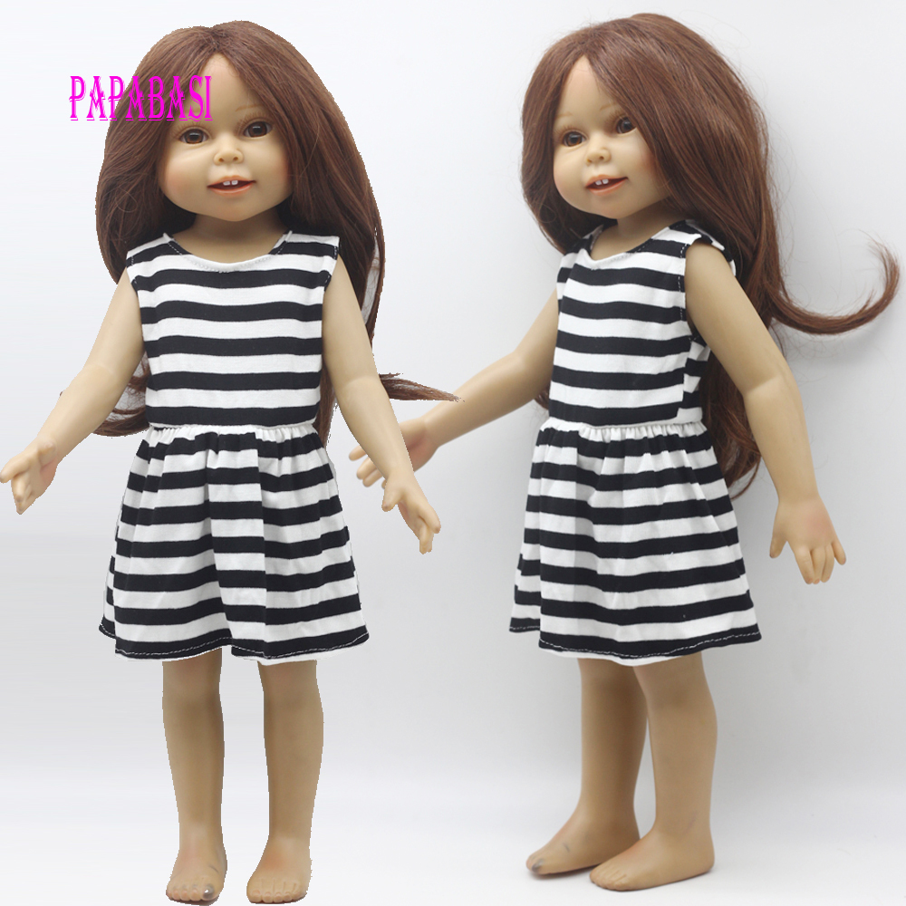 1PCS Doll fashion dress for 18 inch Dolls American Girl doll Clothes, new style 9 colors american girl doll dress 18 inch doll clothes and accessories dresses