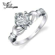 JewelryPalace Natural piedra SONA HACER Claddagh Anillo de 925 Anillos de Plata Para Las Mujeres Del Amor Del Corazón de La Boda Joyería Fina