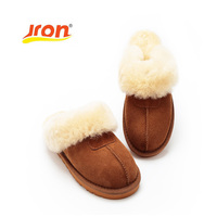 Jron 9 Color Sheepskin Genuine Wool Winter Slippers Women Plush Home Shoes Fur Warm Comfort Indoor House Use Slippers Large Size