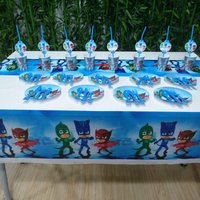 HOT 61pcs PJ Masks Party Supplies Plate Cup Straw Tablecloth Cutlery Birthday Party Decoration Shower Favor
