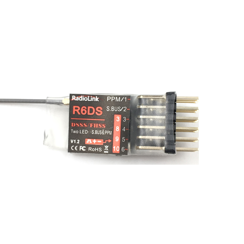 Radiolink R6DS 2.4G 6CH PPM PWM SBUS DSSS/FHSS Receiver Compatible AT9 AT9S AT10 AT10II Transmitter (Upgraded R6D) radiolink r12dsm 2 4g 12 channels receiver 12ch rx fss dsss spread spectrum for radiolink transmitters at9 at9s at10 at10ii