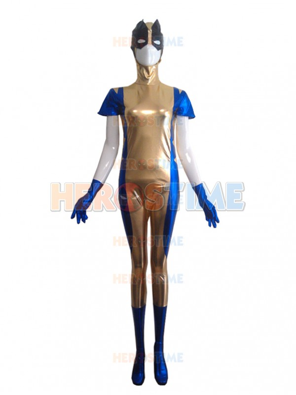 X-men Logan Shiny Metallic Superhero Costume Halloween Wolf Cosplay Zentai Bodysuit Free Shipping
