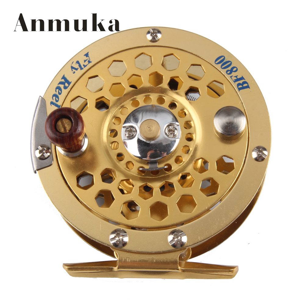 Anmuka 1pc Top Quality Fishing Reel Glod Color Metal Fly Reel 600A/800A/1000A Fly Fishing Wheel Diameter 60mm