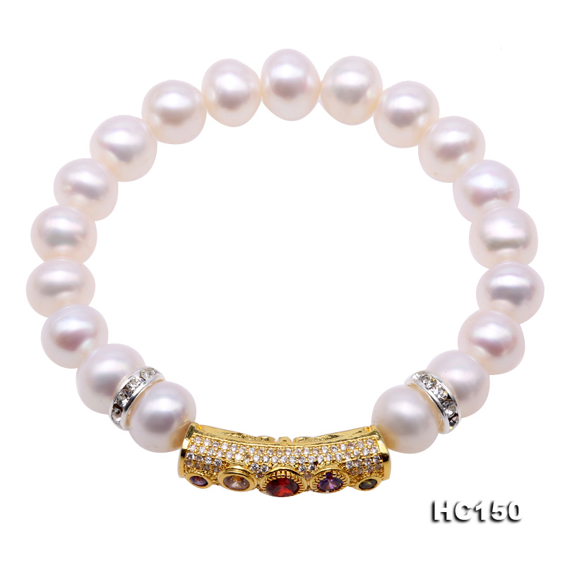 Unique Pearls jewellery Store 9mm White Color Natural Freshwater Pearl Bracelet Mixes Rhinestone Elastic Bracelet