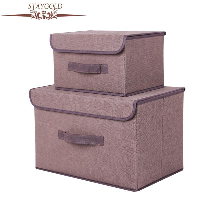 Stay Gold Cotton un Liene uzglabāšanas kaste ar vāciņu 2 izmēra drēbes zeķes rotaļlietu uzkodas sauss