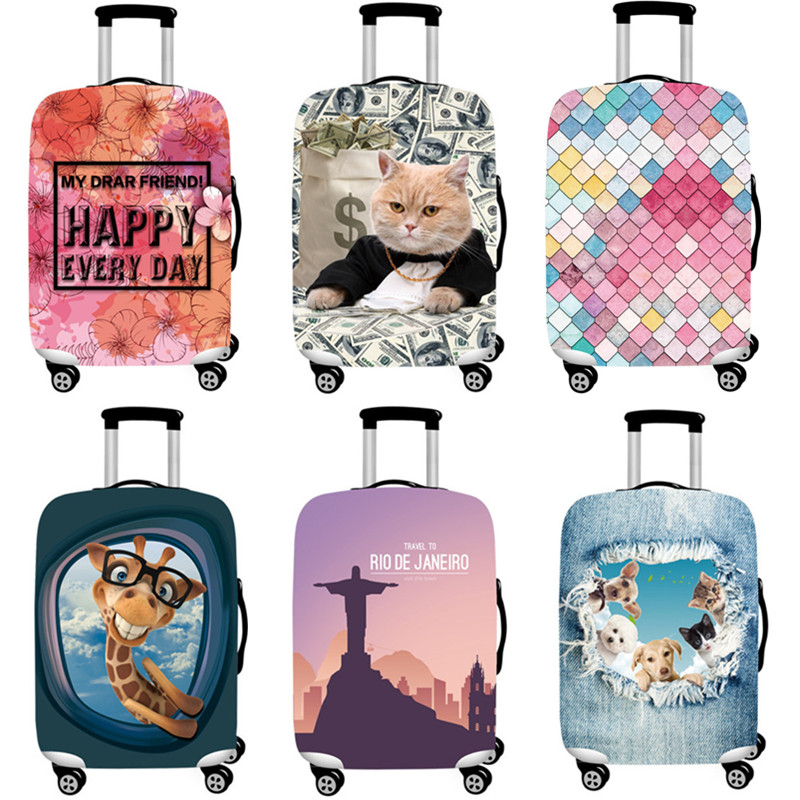 "Cute Cartoon Thicker Luggage Protective Cover 3D Printing Elastic Dust Rain Bag For 18""-32"" Trunk Case Travel Suitcase Accessory"