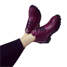 Women Ankle Boots 2016 New Arrive Women's Fashion Winter Warm Flat Rivets Oblique Zipper Martin Boots Black Red HB0203