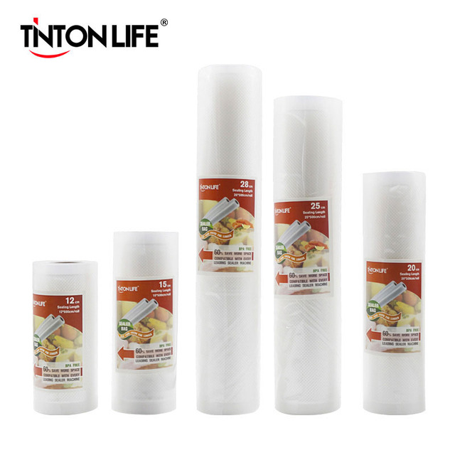 TINTON жизни Кухня Еда вакуум сумка сумки для хранения для вакуумный упаковщик еда свежий долго сохраняя 12 + 15 20 25 28 см * 500 5 рулонов/Лот