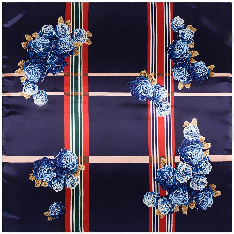 Fashion Women   Scarf   Luxury Brand Striped Hijab Silk Satin Shawl Scarfs Floral Foulard Square Head   Scarves     Wraps   2018 New 90x90cm