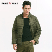 Brand Jacket Men Winter Light Weight Padded Coat Solid Green Mens Army Jackets and Coats 2016 Cotton Men's Parkas MS 6500A