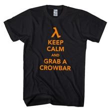 2017 Latest Fashion FPS Classic Game HALF LIFE Men T shirt Keep Calm Grab A Crowbar Boy Letters Printed Short Sleeve Tees O-neck half a life