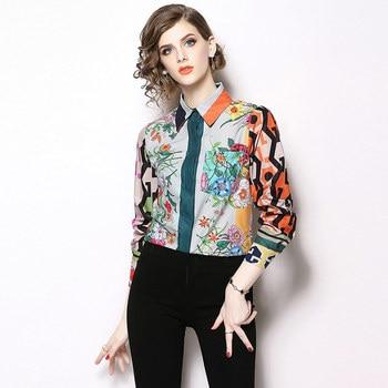 Camisa estampado multicolor floral geométricos elegante 1