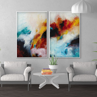 Modern Abstract Painting Colorful Clouds Wall Art Oil Painting on Canvas Handmade Home Decor