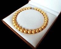 AAA + Schmuck Rare Riesige 12mm Echten Südsee Goldenen Shell Perlenkette Herz Verschluss 18 ''Kette 925 Sterling Silber