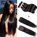 brazilian Virgin Hair Straight with Closure 4pcs/lot Brazilian Straight hair 3 Bundles with Closure Ali Moda Hair with Closure