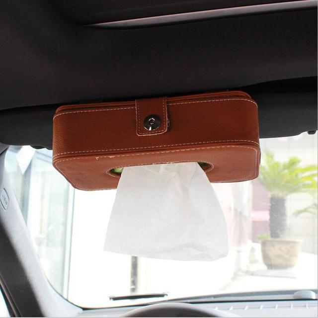 KOSOO Titular Caixa de Tecido Pala de Sol Do Carro Auto Acessórios Guardanapo de Papel Couro de super fibra De Armazenamento 21.3*12.3*5.5 CM