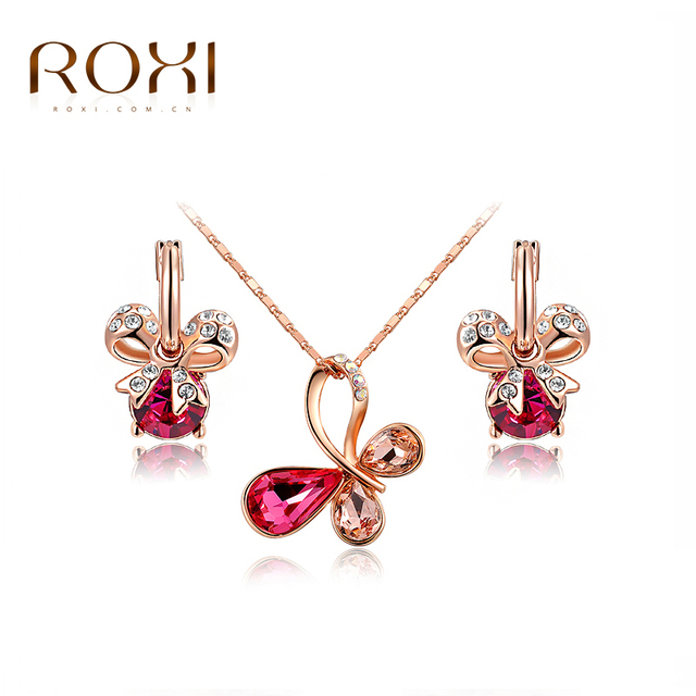 ROXI Classic Cute Butterfly Pendant Necklace Earrings Rose Gold Color Austrian Colorful Crystals Hand Made Fashion Jewelry