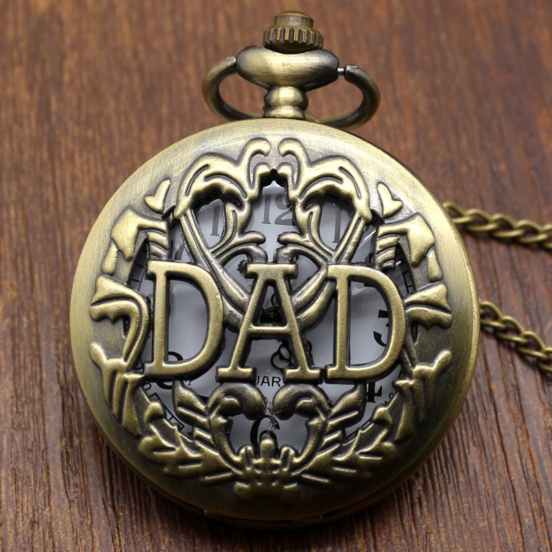 Antique DAD Pocket Watch Hollow Design Pendant Bronze Necklace Mens Happy Father's Day Gift Free Shipping P05