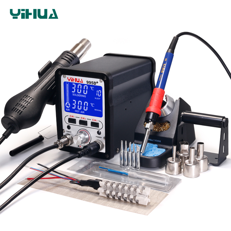 Yihua 995d + smd estação de solda com pluggable pistola de ar quente estação de retrabalho bga estação de solda reparo do telefone