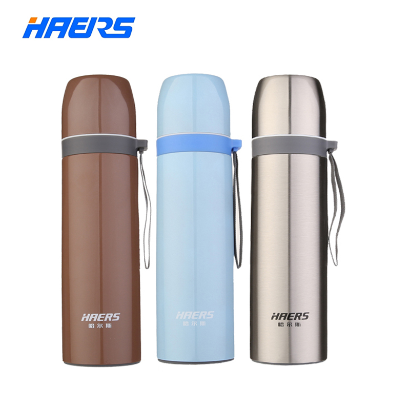Haers Metal Thermos 500ml Durable 18 8 Stainless Steel Thermal Bottle Insulated Portable Coffee