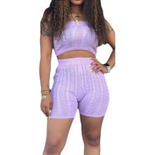 Classic Cindy Color Sexy Sweater Shorts Rompers Strapless Crop Top Shorts Women Plus Size Tracksuits Club Outfits Summer Sets(China)