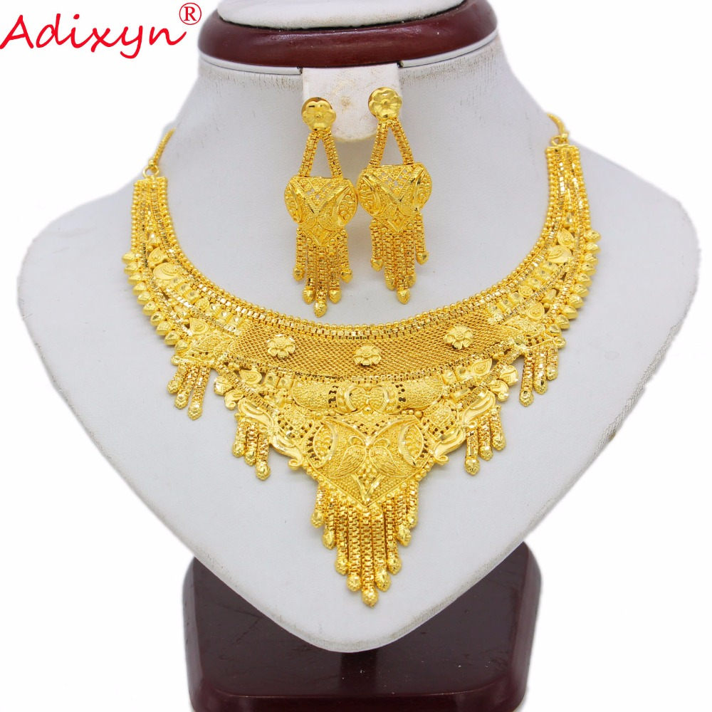 Adixyn New India Necklace&Earrings Jewelry Set For Women Gold Color/Copper Luxury African/Ethiopian/Dubai Party Gifts N062213 adixyn dubai gold bangles fashion jewelry for women men gold color bangles bracelets african india middle east items free box