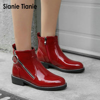 Sianie Tianie 2019 patent PU leather red black round toe flat woman winter warm shoes gothic side zipper ankle boots dr martens