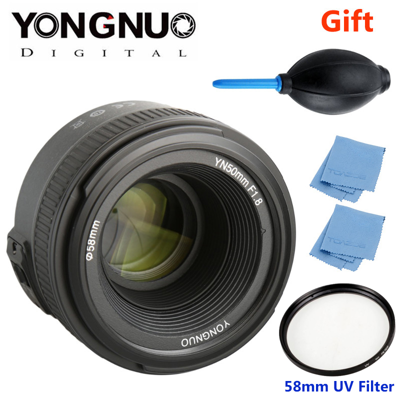 YONGNUO YN 50mm f/1.8 AF Lens YN50mm Aperture Auto Focus Large Aperture for Nikon DSLR Camera as AF-S 50mm 1.8G + Gift Kit