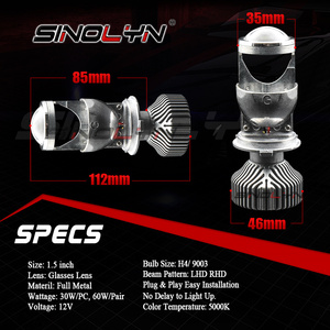 Image 3 - Sinolyn Bi led Lens LED H4 9003 Projector Headlight Lenses Mini 1.5 60W 5000K Tuning Car Motorcycle Light Accessories Retrofit