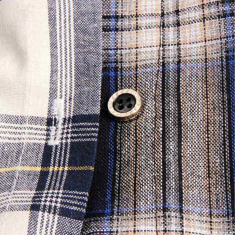 格子縞のヒップホップ女性男性ブラウストップス長袖カラーコントラストパッチワークシャツ 2019 韓国の秋の夏ルーズスプライスブラウス