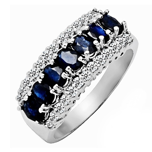 Natural Sapphire Night Blue Ring 925 Sterling Silver jewelry Fashion Elegant Fine Crystal Woman Handmade Birthstone