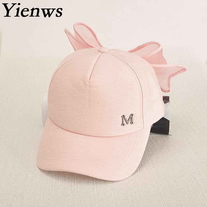 3cf5abb24dc Yienws Pink Full Cap Hat Baseball For Women Designer Leisure M Bow Baseball  Cap Femme Bone Cap Girl YIC027-in Baseball Caps from Apparel Accessories on  ...