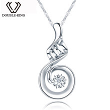 DOUBLE-R Real 0.01ct Diamond Necklace Solid 925 Sterling Silver Pendants Genuine Brand fine Jewelry for Women