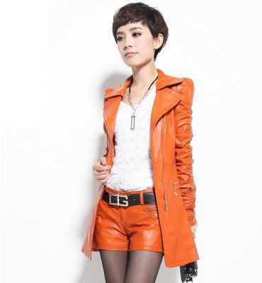 In the fall and winter of 2014  women's fashion M - XXXL fur coat big yards Pu leather windbreaker free shipping