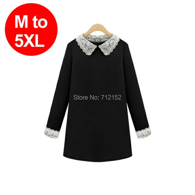 Otoño 2014 más el tamaño 5XL suelta collar de peter pan vestido de una sola pieza flojo ropa da vuelta abajo al vestido vestido básico del color sólido