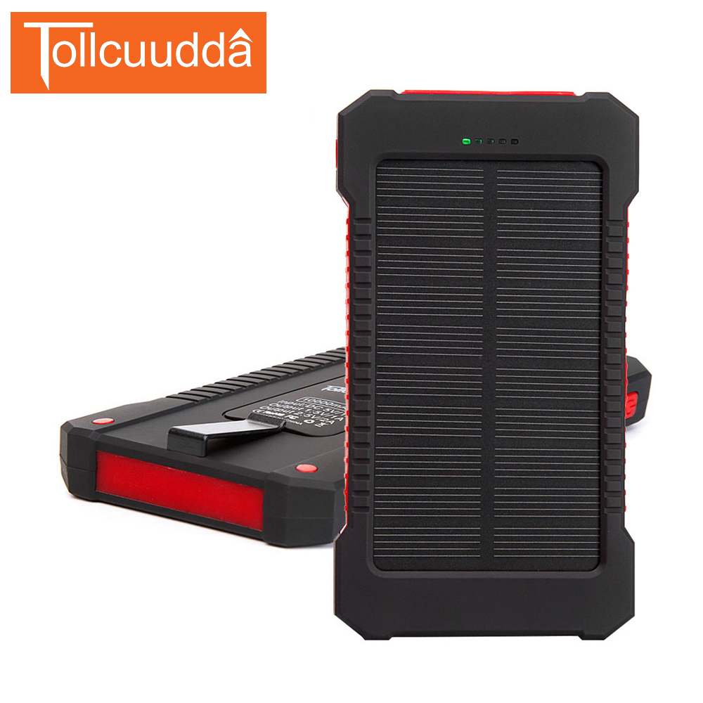 Tollcuudda 10000mAH Portable Charger Battery <font><b>Solar</b></font> Cell Power Pover Bank For Iphone 6/6s Mi External Powerbank Batterie Cargador