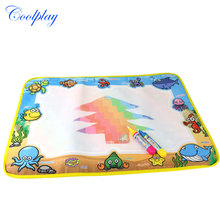 50x36cm Water Drawing Mat & 2 Magic Water Pen Marine Life Water Coloring Book Drawing Board Toys for Kids )