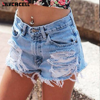 Summer European And American BF Style Female Blue High Waist Denim Shorts Women Worn Loose Burr