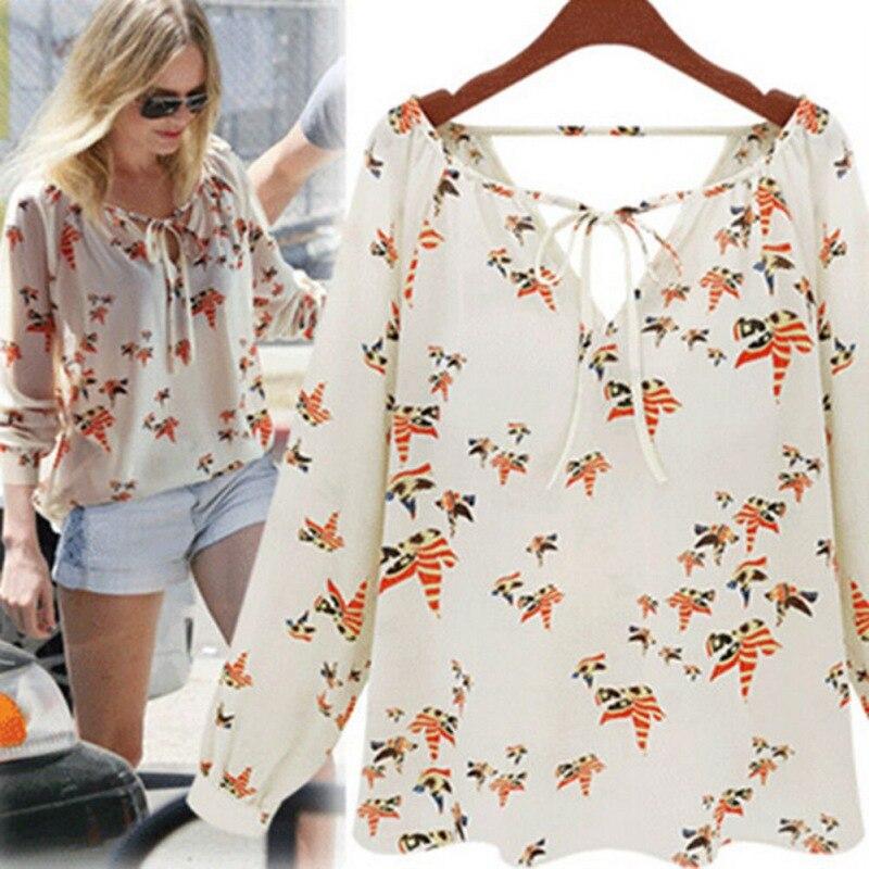 WEIXINBUY Women Fashion Chiffon Top Blouse Short Long Sleeve Dove Print Casual Loose Shirt Blusa Feminino