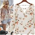 Women Fashion Chiffon Top Blouse Short Long Sleeve Dove Print Casual Loose Shirt Blusa Feminino