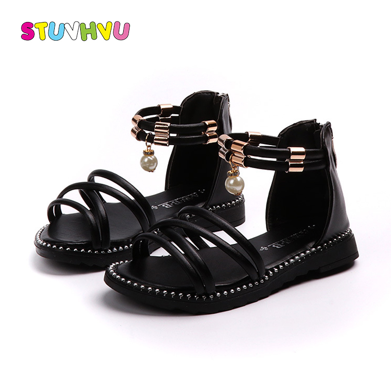 New Summer Kids Girls Sandals Children Students Fashion Roman Sandals Zipper