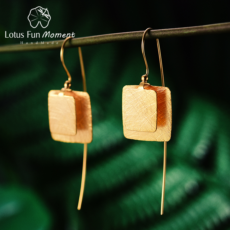 все цены на Lotus Fun Moment Real 925 Sterling Silver Natural Original Handmade Fashion Jewelry Vintage Unique Square Drop Earrings for Wome онлайн