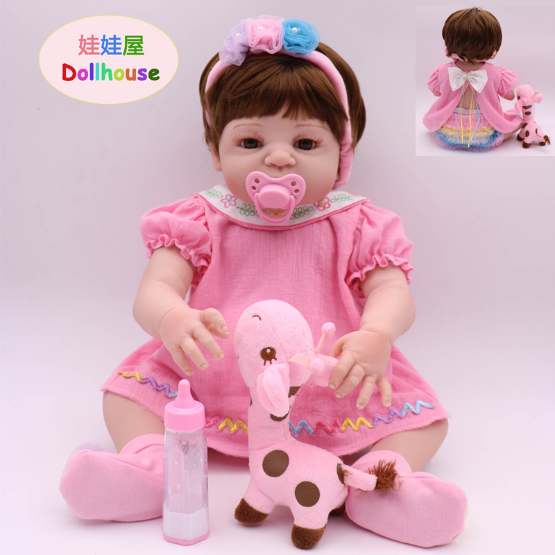 22 Inch New Type Reborn Doll Pink Clothes Soft Full Vinly Body Silicone Limb Foot Toddler Lovely Reborn Babies Girl Dolls Toys new doll reborn doll with pink clothes soft cloth body silicone toddler reborn babies girl dolls toys birthday gift bonecas